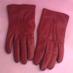 Vintage red leather gloves with lining